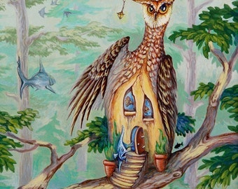 You Never Know Owl Giclee Print Surrealism On Canvas