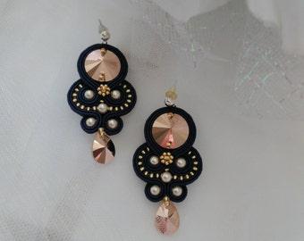 Soutache earrings. Black earrings