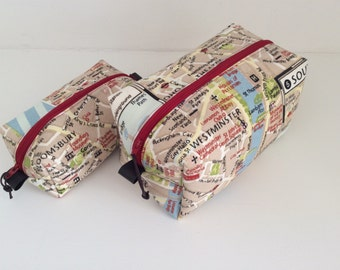 Handmade London map washbag, toiletry bag, travel bag, cosmetics bag, makeup bag with waterproof lining.