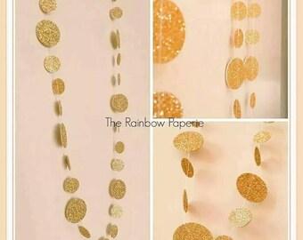 Wedding Backdrop, Gold Glitter Backdrop, Christmas Circles Paper Garland, Baby Shower decorations, Garland Backdrop