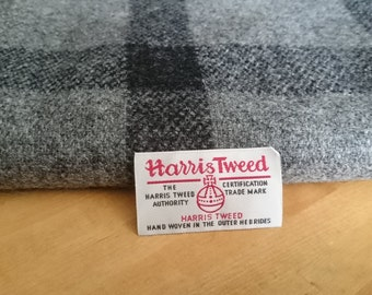 Harris Tweed Cloth Fabric Grey / Black Large Check Luxury Handwoven 100% Pure Virgin Wool handwoven in Outer Hebrides Scotland