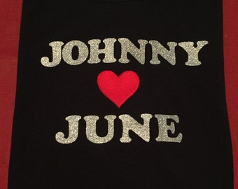 Johnny Loves June Custom Ladies T-Shirt Johnny Cash June Carter Cash Classic Country Love