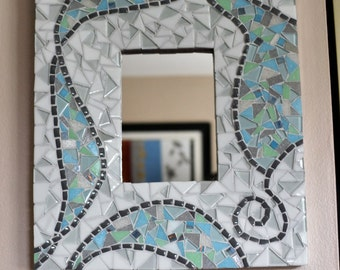 Grey, blue and white mosaic mirror