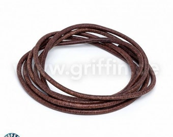1m band of leather, 2 mm, Brown, 100 cm, round leather, Griffin, leather cord