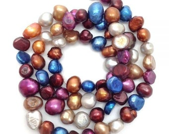 Freshwater pearls, Nuggets, 1 Street blue, red, 6-8 mm,