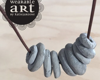 Cement to BE - hand rolled cement beads - handmade - cement - grey necklace