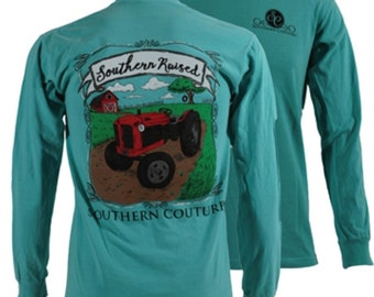 Southern Couture, like Simply Southern, comfort Colors, chalky mint, raised on farm, tractor, short or long sleeve tee shirt