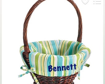 Monogram Easter Basket, brown with striped lining personalized, Easter, preppy