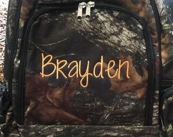 Monogram Camo book bag, backpack, embroidered