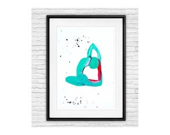 Yoga Pose prints, Yoga Studio art, Meditation, Yoga lovers, Sea Green and Deep pink, Yoga Asnas, Tranquility, Meditate