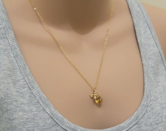 Bee And Honey Necklace, Gold Bee Necklace With Citrine Gemstone, Citrine Necklace, November Birthstone, Tiny Bumble Bee Charm Necklace