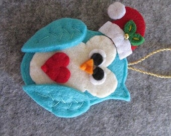 Felt Christmas Ornament - Christmas Ornament -  Felt Owl ornament - Christmas Owl ornament - Handmade Ornament - Christmas gift -