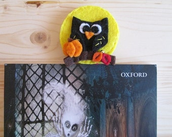 Autumn Owl-/Segnalibro with paper clip Bookmark made of felt-Planner love-gift for readers-hand made-