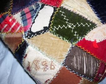 Crazy Quilt Pillow 11x11 Vintage Beautiful Antique