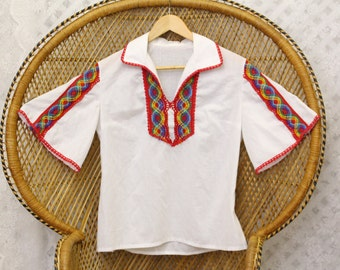 Vintage white Rainbow lace embroidered floral 70s cotton boho top penny lane crop blouse S M