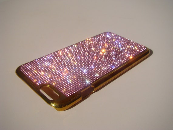 iPhone 6 Plus / 6s Plus Pink Diamond Rhinestone Crystals on Gold-Bronze Chrome Case. Velvet Pouch Included, Genuine Rangsee Crystal Cases.