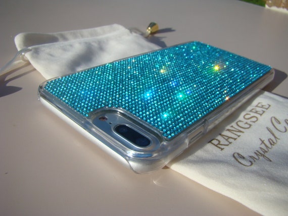 iPhone 7 Plus Case Aquamarine Blue Rhinestone Crystals on Transparent Clear Case. Velvet Pouch Included, Genuine Rangsee Crystal Cases