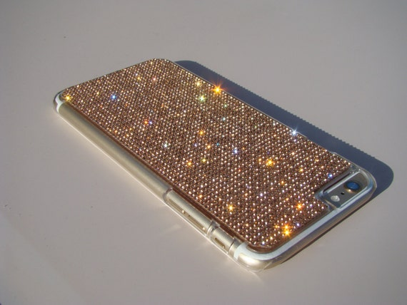 iPhone 6 Plus / 6s Plus Rose Gold Rhinestone Crystals on Transparent Clear Case. Velvet Pouch Included, Genuine Rangsee Crystal Cases