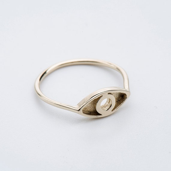 gold evil eye ring delicate 14 karat gold eye ring by
