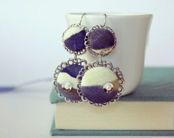 Blue and white silk covered buttons earrings