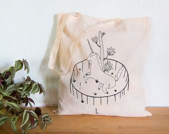 Tote bag canvas unicorn silkscreened shopping bag tote bags illustration cotton shopping bag horse black animal forest bag fantasy animal