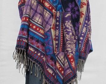 Poncho Pockets Tassels Fringe Boho Bohemian 60s Designer Hippie HandmadeHimalayan Handloomed Yak Wool Blend Shawl Multicolored 1 Size 9634