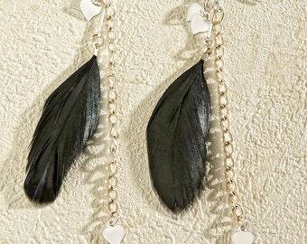 Black Feather Earrings Dangling Chain Heart <3*