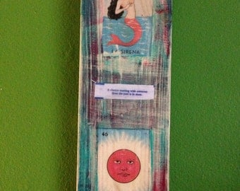 """Loteria and bottlecaps on wood 4x12"""""""