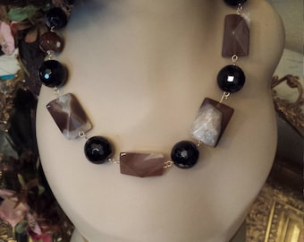 pyramid onyx and black spotted jasper one strand necklace
