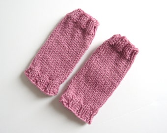 Legwarmers for newborn handknitted pure wool - pink