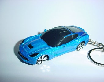 3D 2014 Chevrolet Corvette Sting Ray custom keychain by Brian Thornton keyring key chain finished in blue color trim metal body stingray