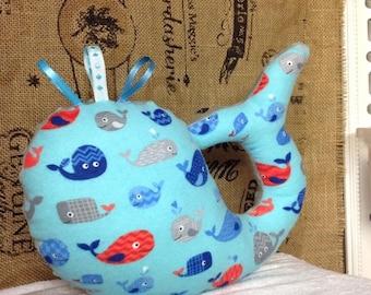 Nautical Whimsical Whale Taggie Plush Pillow