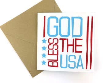 American Flag Card, God Bless the USA Card, 4th of July