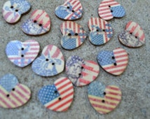 Stars and Stripes USA Wooden Heart Buttons - Sewing  Event Sweetheart Wood Scrapbooking Embellishment