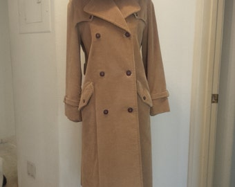 Vintage Camel Corduroy Trench with Chocolate Colored Leather Buttons