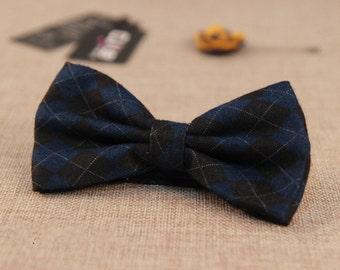 2pcs Dark Blue tone cotton men formal simple pre-tied bowtie with strip party bowties wedding bridal bowties MMBT002