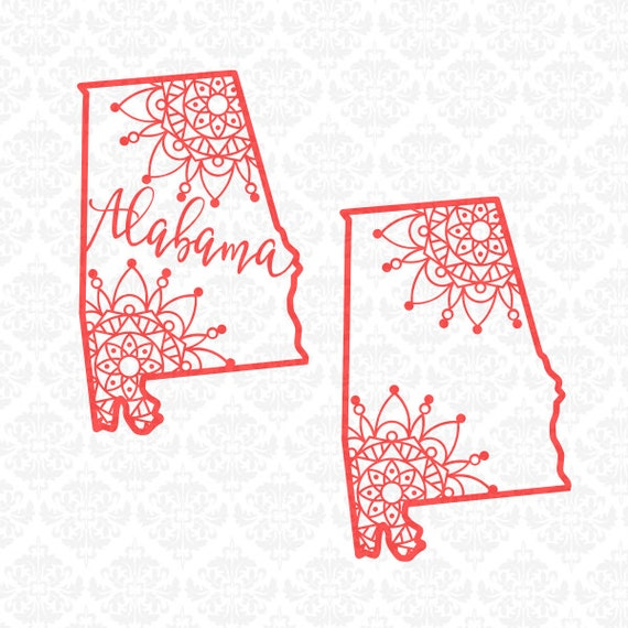 Alabama Mandala Henna Filigree Zentangle Intricate SVG DXF Ai Eps PNG Scalable Vector Instant Download Commercial Cut File Cricut Silhouette