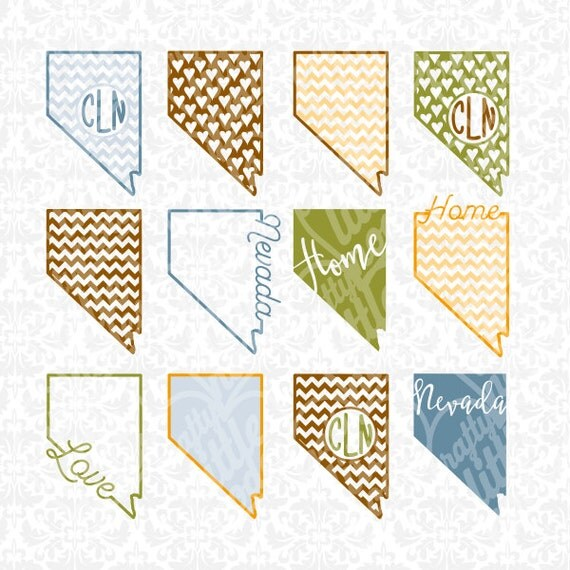 Nevada State Monogram Chevron Love Home Set SVG STUDIO Ai EPS Scalable Vector Instant Download Commercial Use Cutting File Cricut Silhouette