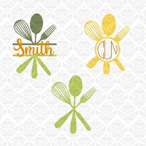 Baking Svg, Split utensils svg, Kitchen Monogram svg, Monogram whisk svg, spoon svg, whisk svg, fork svg, baker svg, silhouette, cricut,