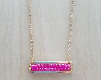 Pink Jewel Bar Necklace