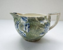 1833 - 1847 Rare Copeland Garrett Creamer Pitcher Jug Green Blue Flowers Wedding Anniversary Birthday Bridal Shower Collector Gift AS IS