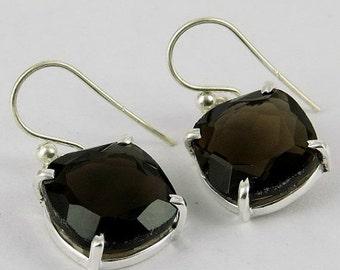 25% Off Sale Smoky Quartz Earrings - Fine Silver Earrings - Prong Set Earrings - Faceted Earrings - Birthday Gift For Her - Women Earrings -