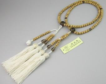 Japanese bodaiju bodhi seeds nenju, Hokke shu onenju rosary of nichiren sect, Special tassel in white