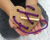 Wooden Lacing Toy - Heart Lacing Card - Gift for Kids - Montessori Materials - Waldorf Toy - Toddler Wood Toy - Birthday Party Favor