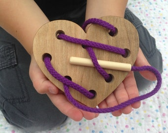 Wooden Lacing Toy - Heart Lacing Card - Montessori Materials - Waldorf Toy - Toddler Wood Toy - Gifts for Kids - Easter Basket Gift