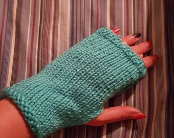 Blue fingerless winter gloves