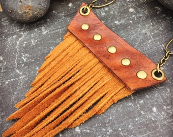 Leather - Suede - Brass - Fringe Necklace - Rustic - Natural