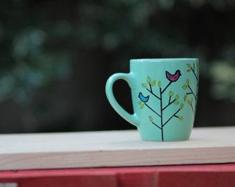 Birds in the Trees Coffee Mug.  Hand-painted Coffee Cup.  Cute Coffee Mugs.