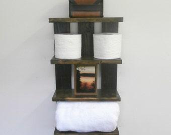 Bathroom Open Shelving for Towels – Rolled Bath Towel Wall Holder–Rustic Over the Toilet Shelf–4 Tier Bathroom Shelf–Hotel Style Towel Rack