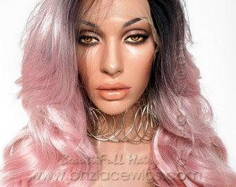 Dark root baby pink lace front wig Pink Charm ombre nicki minaj lace wig pink wig Kardashian lace front wig drag queen lace wig